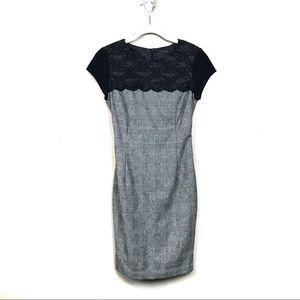 Zara Gray wool sheath dress black lace career s
